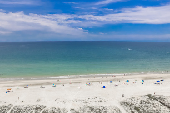 Aerial view of the beautiful Emerald Coast in St. George Island
